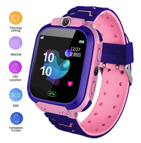 linyingdian Smartwatch-kinderen, Smart Watch-kinderen met 1,44 volledig touchscreen, LBS-locatorflitslicht, oproep, SOS, camera, games en wekker, cadeau voor jongensmeisje 3-12 jaar (roze)