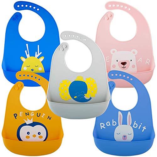 5 Baberos Blando de Silicona para Bebés Impermeable, 5 Colores - Ajustable, Flexible y Fácil de Limpiar| Sin BPA - Baby Bib Destete para Unisex, Niñas y Niños,| Regalo de Baby Shower Navidad Ideal.
