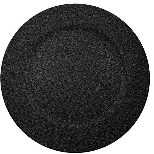 Palais Dinnerware 'Plaque De Charge' Collection - 13' Elegent Charger Plate (Set of 4, Sparkle Black)
