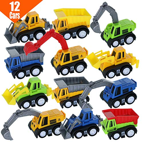 GIFTEXPRESS® 1dz Mini Pull back Construction toy cars - Educational Preschool Bulldoze Excavator Dump Truck Model Kit for Children Toddlers Kids, For Boys Party Favors, Birthday Game goodie bag classroom Reward