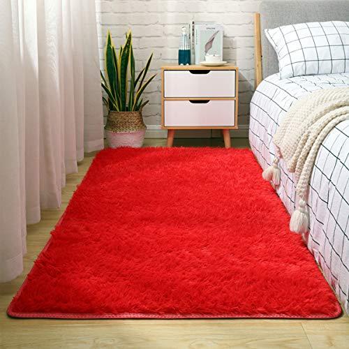 Brandname Alfombras Ultra Suaves Interiores Modernas para Interiores Alfombras de Sala de Estar mullidas Adecuado para niños Dormitorio Decoración para el hogar Moqueta Rectangular (Rojo, 80X120cm)