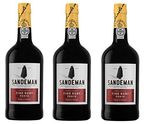 Vino de Oporto Sandeman Ruby - Vino Fortificado - 3 Botellas