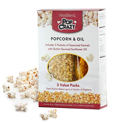 West Bend PC10518 Pop Crazy Popcorn & Oil, Multicolored (Discontinued by), 3-Pack, White