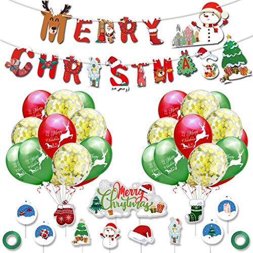 BlinBlin Christmas Theme Pull Flag Balloon Set Feliz Navidad Pull Flag Cake Tarjeta Decoración para Navidad Decoración interior al aire libre