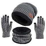 Kfnire bufanda del sombrero de los hombres, sombrero hecho punto invierno + bufanda con forro polar (03# gris)