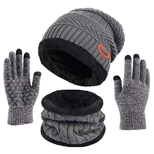 Kfnire bufanda del sombrero de los hombres, sombrero hecho punto invierno + bufanda con...