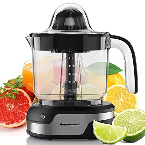 Homeleader Exprimidor eléctrico de cítricos, exprimidor de naranja con motor potente y lámpara de trabajo LED, exprimidor de naranja para pomelos, naranja y limón