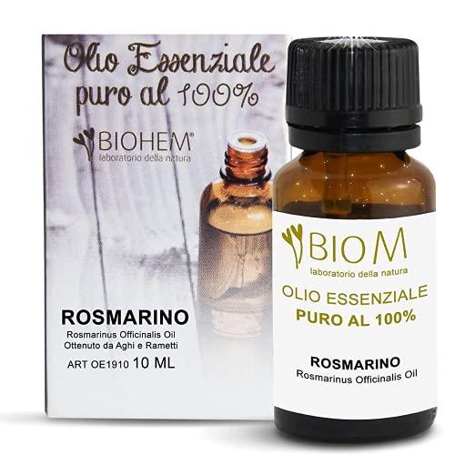 BIOMINTEGRA| OLIO ESSENZIALE DI ROSMARINO Puro 100%, Aromaterapia Diffusori Massaggi Uso Alimentare, Cura Capelli, Certificato OEBBD OECT BIOLOGICO, MADE IN ITALY- 10 ML