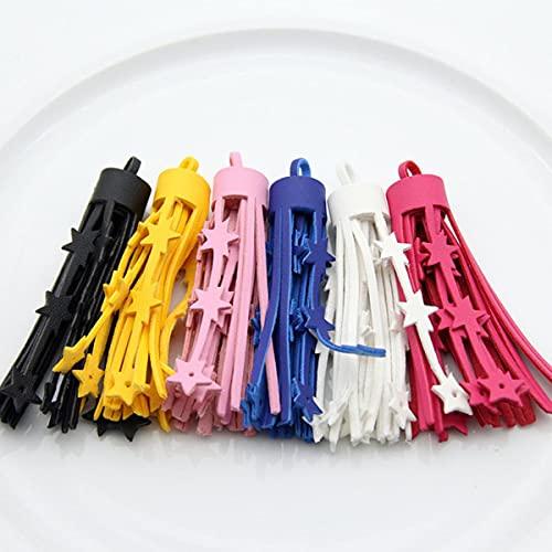 6 unids / Lote 75 mm borlas de Cuero sintético de Colores Mezclados Accesorios de Llavero de Bricolaje Estrella Hueca borlas Grandes Flecos joyería de Moda única-Mezcla de Colores al Azar