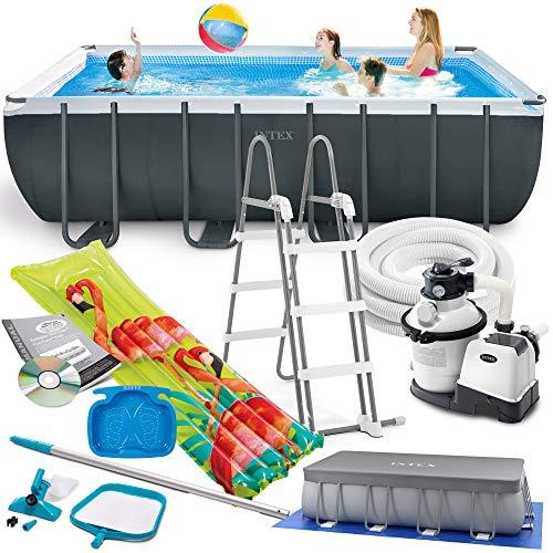 Intex 549x274x132 cm Ultra Frame Swimming Pool 26356 Komplett-Set mit Extra-Zubehör wie: Reinigungsset, Skimmer, Luftmatratze und Fußbad