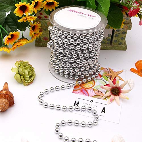 2m/5m bag 4mm/6mm/8mm/10mm ABS Imitation Pearl Beads Chain Trim for DIY Garland Wedding Party Decoration Craft Accessories - silver,a2,4mm-5m