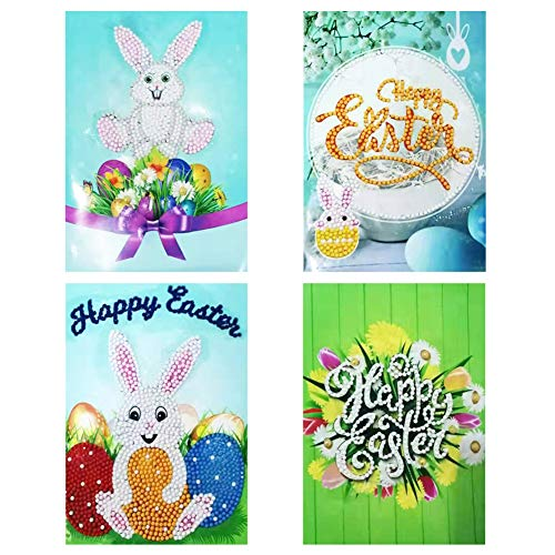 Juego de 4 tarjetas de felicitación de Pascua hechas a mano, con sobres en blanco para el día de Pascua, manualidades para niños, regalos, pintura, tarjeta de cumpleaños, postal, decoración de fiesta