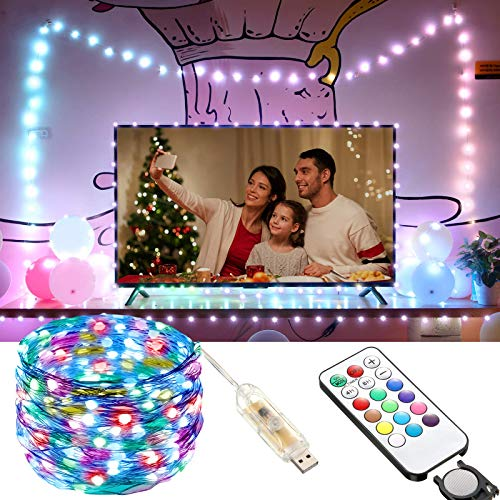 LED String Lights 10m 100LED USB Operated Fairy String Light with 12 Modes 12 Colors Changing Remote Control for Indoor Outdoor Bedroom Patio Wedding Party Christmas Decorations