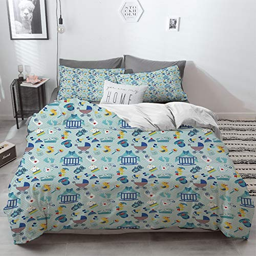 3 Piece Duvet Cover Set No Wrinkle Ultra Soft Bedding Set,Baby,Newborn Sleep Crescent Moon Pacifier Nursery Star Polka Dots Image Decorative,Pale,2 pillowcase 50 x 75cm 1 Pc Bed sheet 260 x 220cm