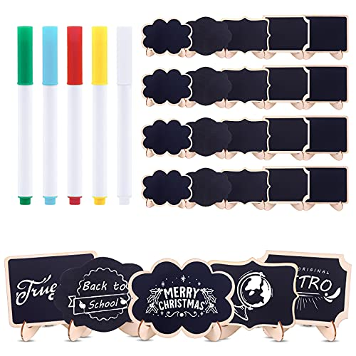 Rustark 30 Pcs Mini Chalkboards Signs with 5 Colors Chalk Marker, Blackboard Signs with Wooden Frame, Message Board Signs, Place Cards for Table Numbers, Food Signs and Christmas Decoration