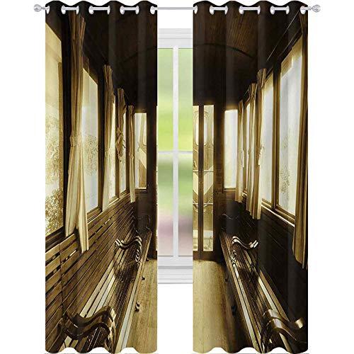 Cortinas opacas impresas, antiguas ventanas de transporte histórico con forma de arco, 2 paneles de ancho de 52 x 72 cm de largo para sala de estar, sepia