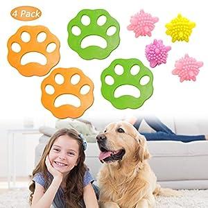 Kit d'épilation pour animaux domestiques, kit de nettoyage pour sèche-linge, attrape-poils pour animaux de compagnie (4 + 4 pièces)
