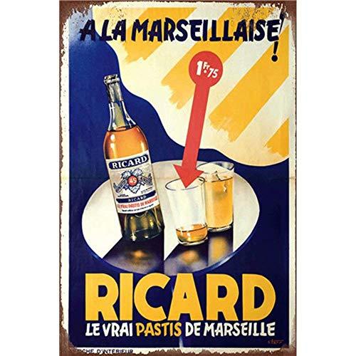 Lorenzo Ricard Beer Vintage en Métal Tôle Signe Mur Fer Peinture Plaque Affiche Panneau D'avertissement Café Bar Pub Bière Club Décoration de La Maison