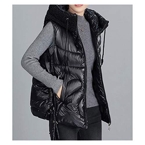 Chaleco sin mangas acolchado ligero de algodón Con capucha de la chaqueta del chaleco del espesamiento caliente cordero gorro de lana sin mangas caliente chalecos de abrigo de algodón abajo chaleco ot
