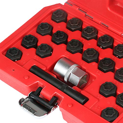 Mrcartool 22pcs Anti-Theft Screws Removal and Install Socket Sleeve Set Group for BMW Wheel Lock Lugnut Anti-Theft Screw Lug Nut Removal Key Socket Set for BMW