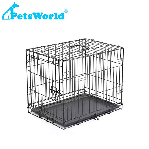 PETSWORLD Single Door Dog Crate, Folding Metal Dog or Pet Crate Kennel, Size: 24 inch w/Divider Basic Crates