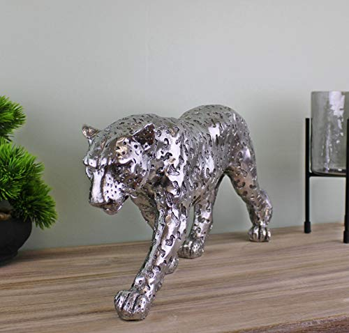 Geko Silver Leopard Ornament Large Home Decoration