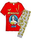DC Comics Pijama Wonder Woman Mujer Diseño Superhéroe Wonder Woman, Conjunto 2 Piezas Camiseta de Manga Corta Pantalón Largo, Ropa de Dormir Algodón, Regalos para Madres Chicas (Wonder Woman Rojo, S)