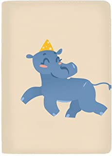 Passport Holder Cover RFID Blocking Case Travelling Passport Cards Carrier Wallet Case Baby Hippo Character In Birthday Hat