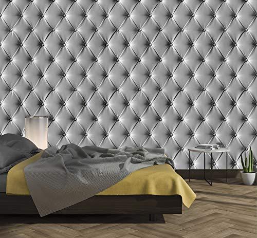 murimage Fototapete Leder Grau 274 x 254cm inklusive Kleister 3D Optik Edel Luxus Diamanten Lederimitat Schlafzimmer