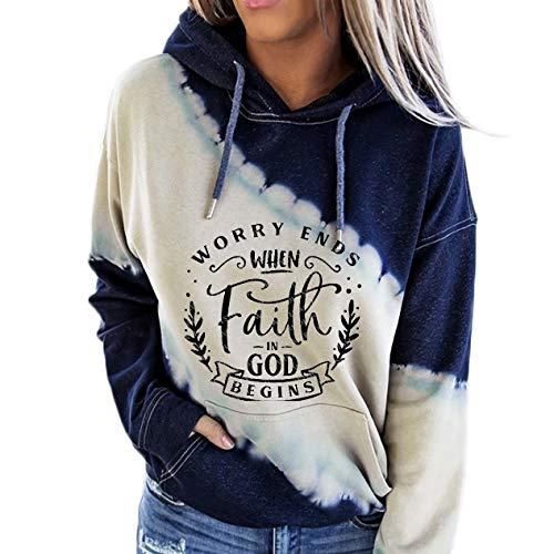 Tie Dye Hoodie for Women, Women's Worry Ends When Faith in GOD Begins Print Hooded Sweatshirt-Blue-4XL