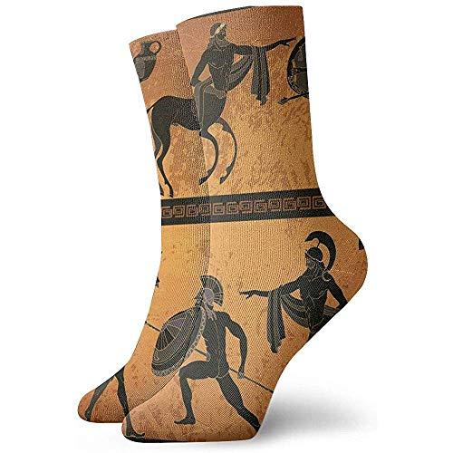 Be-ryl Escena de la Antigua Grecia Figura Negra Alfarería Mitología Griega Centauro Gente Dioses Olympus ClassicalCrew Sock Calcetines Deportivos 30cm