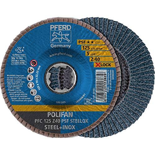 PFERD Fächerscheibe POLIFAN, 10 Stück, 125mm, Z40, X-LOCK (22,23 mm), PSF STEELOX, 67664126 – für hohe Wirtschaftlichkeit durch aggressive Zerspanung bei guter Standzeit
