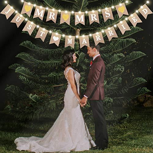 """Sackleinen Banner Gedruckt mit Buchstaben""""Mr Mrs Just Married"""" Hochzeit Ammer Banner mit LED Fee Lichterkette, Hängendes Zeichen Girlande Wimpel Foto Stand Requisiten für Braut Shower"""