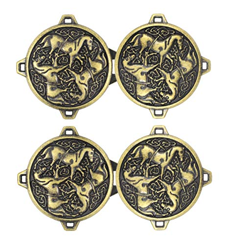 Bezelry 3 Pairs Celtic Horses Cape or Cloak Clasp Fasteners. 62mm x 35mm Fastened. Sew On Hooks and Eyes Cardigan Clip (Antique Brass)