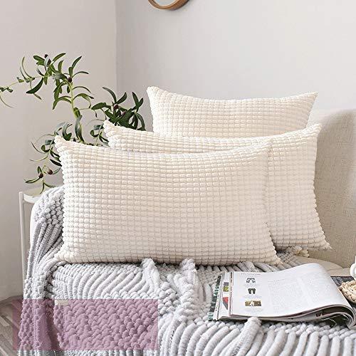 HuifengS - Juego de Fundas de Almohada cuadradas Decorativas de Pana a Rayas de maíz Grande de Color sólido para sofá, Dormitorio, Coche, Cream White, Big Corn, 16