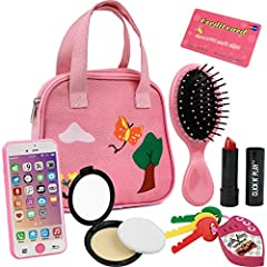 Little Girls pink purse loaded with everyday accessories, a great pretend play set for preschoolers, toddlers. Set includes; Decorative Pink Purse, Smartphone, car keys, credit card, hair brush, Lipstick, Blush with applicator. Pink purse features 2 ...