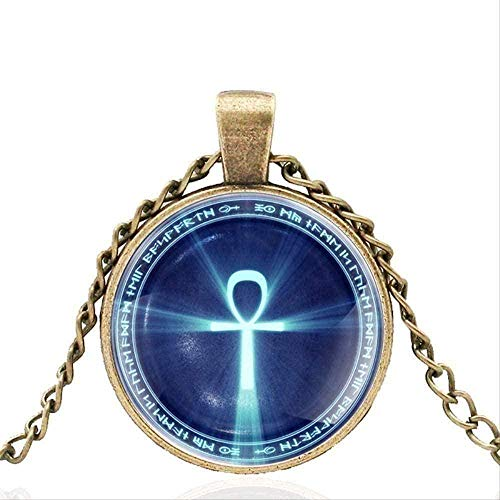 Aluyouqi Co.,ltd Necklace Necklace Necklace Ancient Egyptian Symbol Glass Dome Metal Necklace Pendant Chain Choker for Men and Women Gift for Women Men Gift