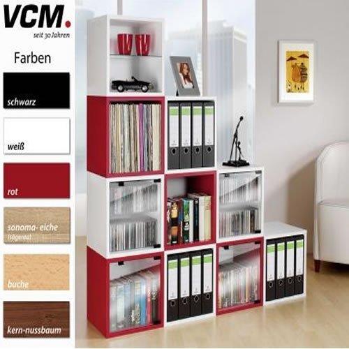 VCM, Quattro, opbergdoos zonder glazen deur, plank/dobbelsteen, in 5 kleuren