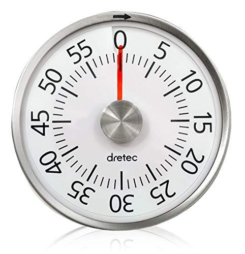 dretec(ドリテック) ダイヤルタイマー 最大セット時間60分 タイマー 勉強 料理 アナログ式 電池不要 簡単操作 マグネット付き T-315WT ホワイト 径80×33mm