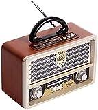Radio Retro De Madera, Radio Am SW FM, Altavoz Inalámbrico Bluetooth 4.0, con Estilo Antiguo, Graves Fuertes, Mini Audio Exterior con Volumen Alto,Marrón