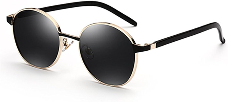 HONGYANDAI Sunglasses Women's Round Frame Polarized Glasses 100% Uv Mirror (Black)