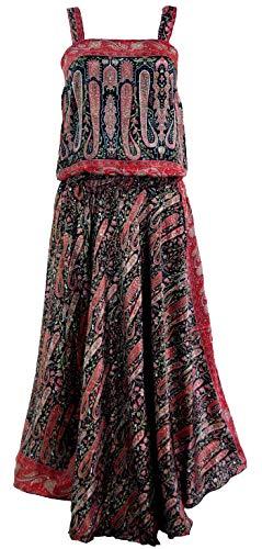 Guru-Shop Maxikleid, Boho Sommerkleid, Kombikleid, Damen, Schwarz, Synthetisch, Size:38, Lange & Midi-Kleider Alternative Bekleidung