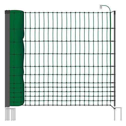 VOSS.farming Malla eléctrica para gallinas farmNET, Rollo de 50m de Longitud y 112cm de Altura, 16 Postes con Punta Doble y Kit de reparación