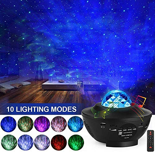 LED Star Light Projector Monkey Home Night Light, 2 in 1 Starry Nebula Lamp/Ocean Wave Projector Colour Changing Music Player with Bluetooth & Timer & Remote Control for Kids Adults Party Decoration