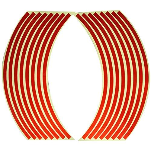 DDyna Etiqueta engomada de la rueda del coche de la motocicleta del anillo de la rueda pegatinas modificadas de la rueda pegatinas reflectantes del neumático de 18 pulgadas - rojo