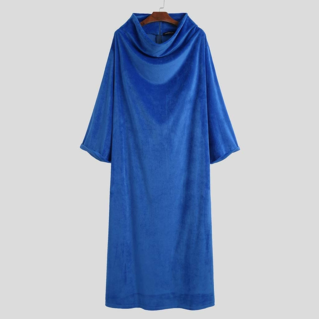 XJJZS Men Fleece Robes Long Sleeve Homewear Solid Turtleneck Nightgown Comfortable Leisure Loose Soft Warm Men Bathrobes S-5XL (Color : Blue, Size : XXXX-Large)