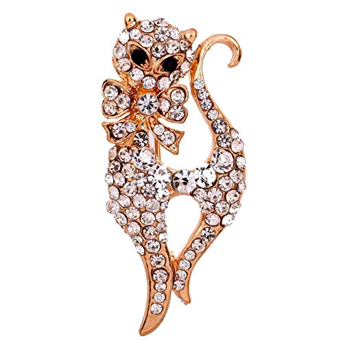 Elegant Jewellery Rose Gold Plated Glaring Crystal Sexy Fox Brooches and Pins for Women & Girls