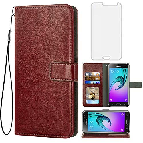 Asuwish Compatible with Samsung Galaxy J3 2016/J 3 V/J36V/Sky/Amp Prime Wallet Case Tempered Glass Screen Protector Flip Cover Card Holder Accessories Phone Cases for Glaxay Sol J3V JV3 J320V Brown