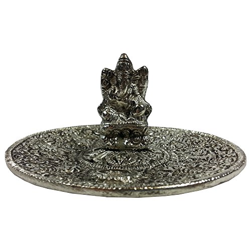 Ganesh Metal Incense Dish - Cone and Stick Incense Holder and Bu