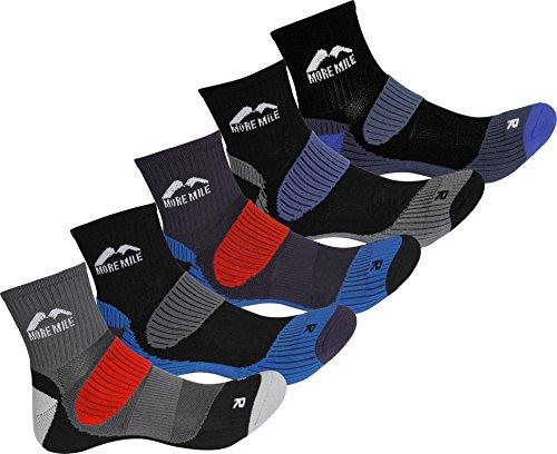 More Mile Lot de 5 paires de chaussettes de course Trail Cheviot Unisexe, Homme, Multi-Color, 11-13 UK